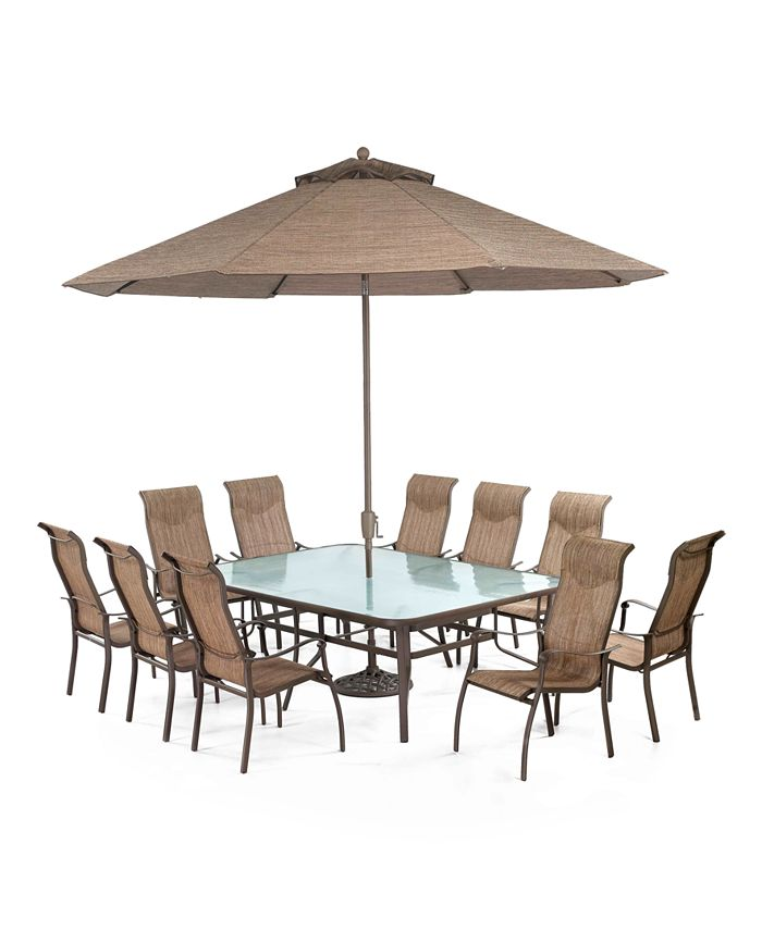 """Furniture - Oasis Outdoor 11 Piece Set: 84"""" x 60"""" Dining Table and 10 Dining Chairs"""
