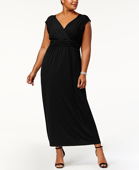 NY Collection Plus Size Ruched Empire Maxi Dress & Reviews ...