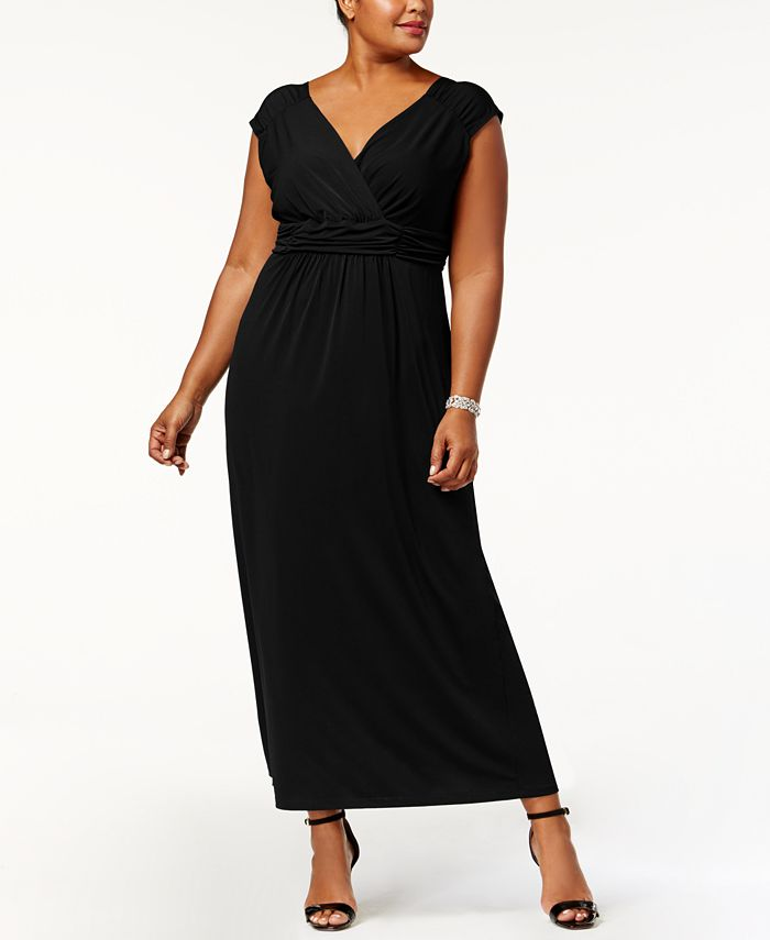 NY Collection - Plus Size Sleeveless Ruched Empire-Waist Maxi Dress
