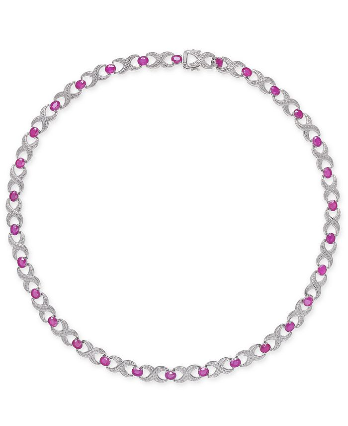 Macy's - Ruby (16-1/2 ct. t.w.) & Diamond Accent Collar Necklace in Sterling Silver