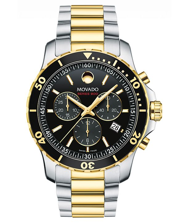 Movado Men's Swiss Chronograph Series 800 Two-Tone PVD Stainless Steel Bracelet Diver Watch 42mm
