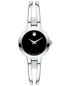 Movado Women's Swiss Amorosa Diamond-Accent Stainless Steel Bangle Bracelet Watch 24mm