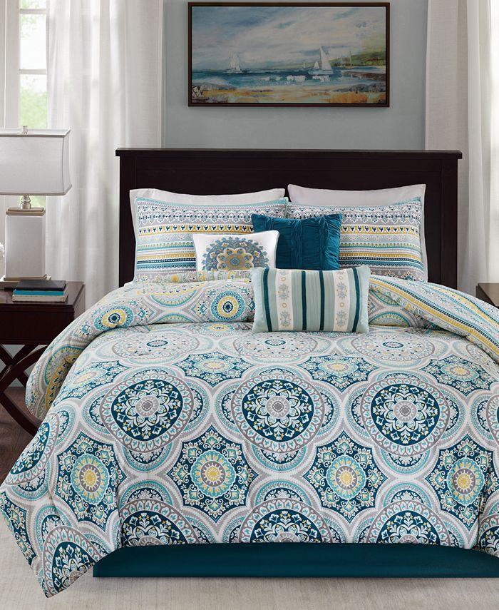 Madison Park - Mercia 210-Thread Count 7-Pc. Cotton Reversible Queen Comforter Set