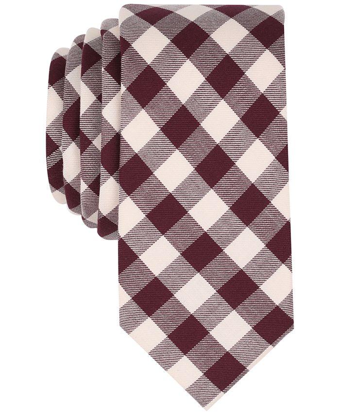 Bar III - Men's Vintage Gingham Skinny Tie, Created for Macy's