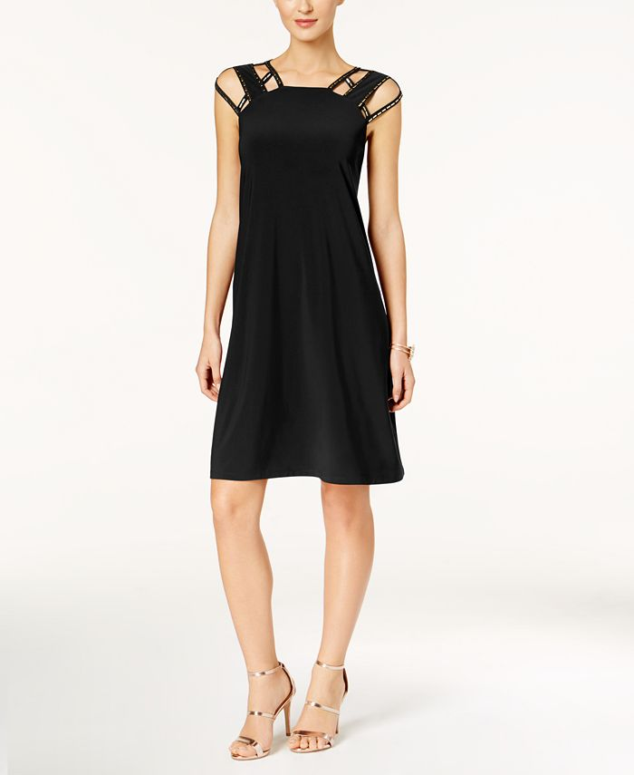 Love Scarlett - Petite Studded Cutout Fit & Flare Dress