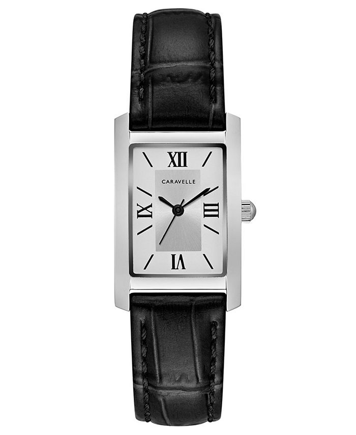 Caravelle - Women's Black Leather Strap Watch 21x33mm