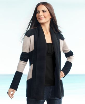 INC International Concepts Cardigan, Long Sleeve Thick Stripe Open Front