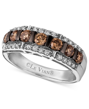 Le Vian Diamond Ring, 14k White Gold Champagne Diamond and White Diamond Band (1-1/6 ct. t.w.)
