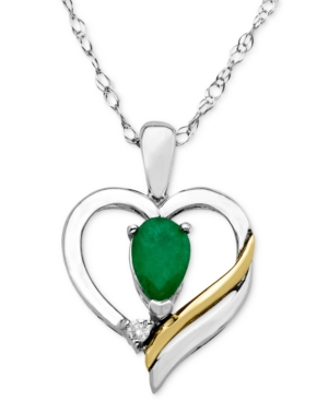 14k Gold and Sterling Silver Necklace, Emerald (3/8 ct. t.w.) and Diamond Accent Heart Pendant