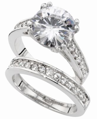 White Gold Cubic Zirconia Wedding Ring Sets