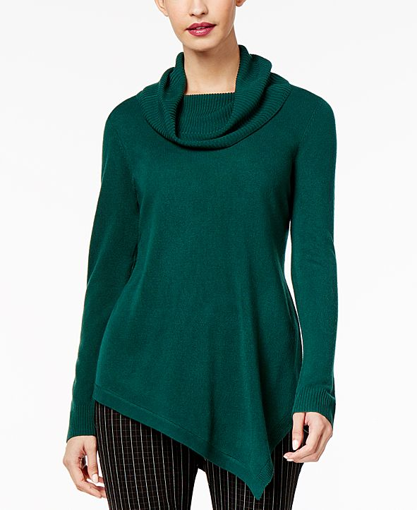 NY Collection Cowl-Neck Asymmetrical-Hem Sweater