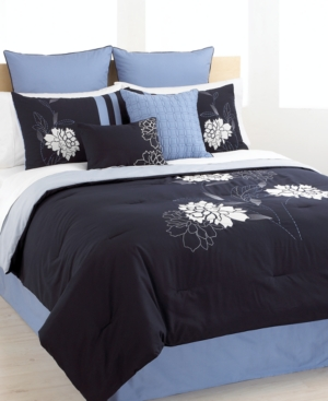 Floral Zest 8 Piece King Embroidered Comforter Set Bedding