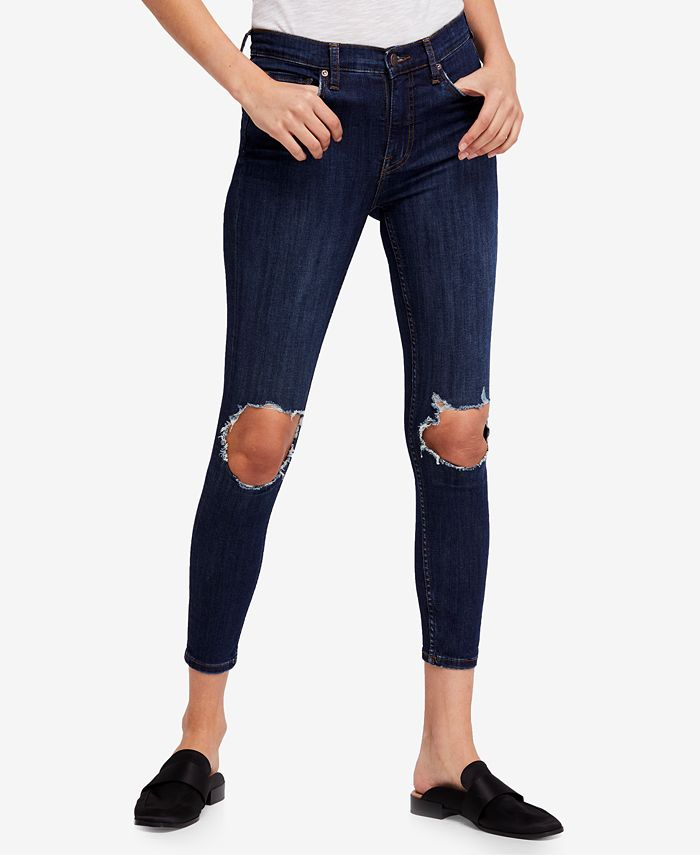 Free People - Cotton Ripped Medium Blue Wash Skinny Jeans
