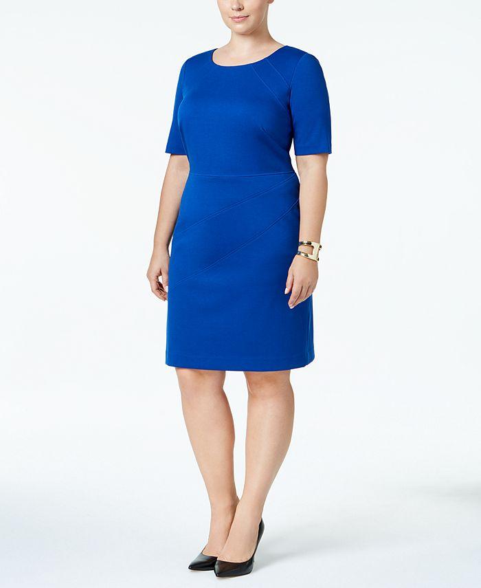 Ellen Tracy - Plus Size Short-Sleeve Sheath Dress
