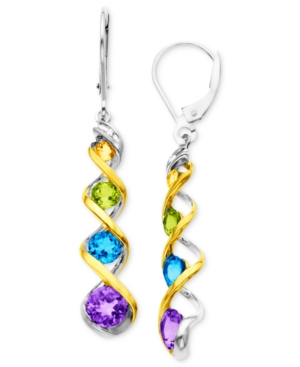14k Gold and Sterling Silver Earrings, Multistone Swirl Drop