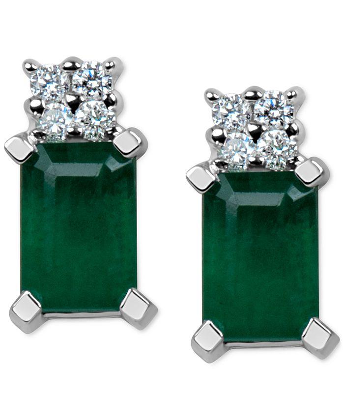Macy's - Emerald (1-1/5 ct. t.w.) & Diamond Accent Stud Earrings in 14k White Gold