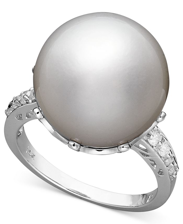 Macy's - 14k White Gold Ring, Cultured South Sea Pearl (14mm) and Diamond (1/5 ct. t.w.)