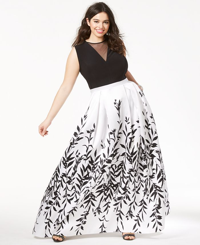 Morgan & Company - Trendy Plus Size Printed A-Line Gown