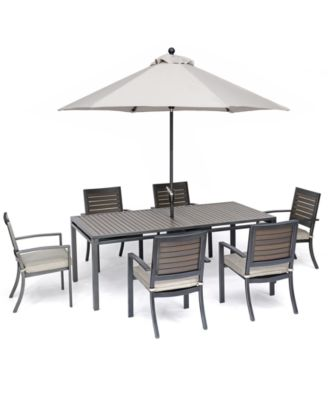 """Marlough II Outdoor Aluminum 7-Pc. Dining Set (84"""" x 42"""" Dining Table and 6 Dining Chairs) with Sunbrella Cushions, Created for Macy's"""
