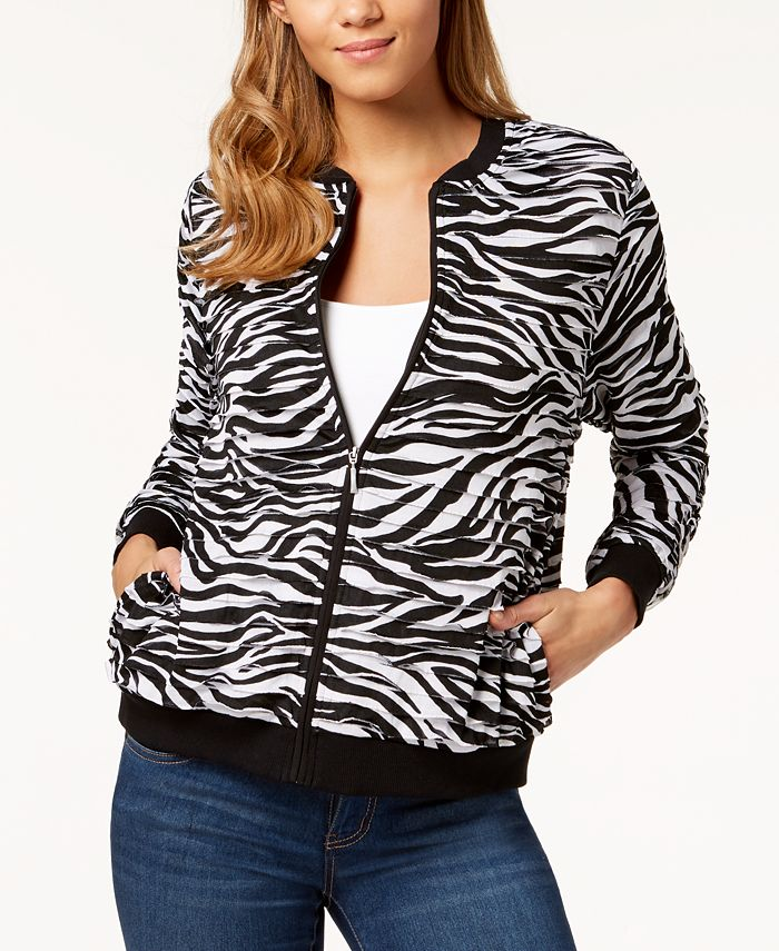 Alfred Dunner - Petite Printed Tiered-Panel Bomber Jacket