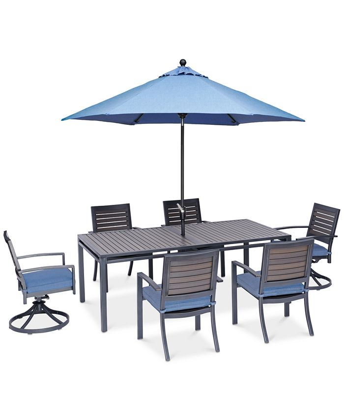 """Furniture - Harlough II Outdoor 7-Pc. Dining Set (84"""" x 42"""" Dining Table, 4 Dining Chairs and 2 Swivel Rockers) with Sunbrella® Cushions"""