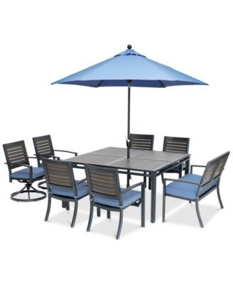 "Harlough II Outdoor 8-Pc. Dining Set (62"" Square Dining Table, 4 Dining Chairs, 2 Swivel Rockers and 1 52"" Dining Bench) with Sunbrella® Cushions, Created for Macy's"