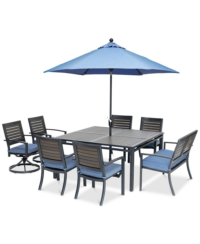 "Furniture - Harlough II Outdoor 8-Pc. Dining Set (62"" Square Dining Table, 4 Dining Chairs, 2 Swivel Rockers and 1 Dining Bench) with Sunbrella® Cushions"