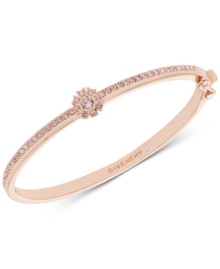 Givenchy - Crystal Flower Hinged Bangle Bracelet
