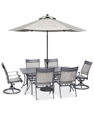 """Vintage II Outdoor Cast Aluminum 7-Pc. Dining Set (72"""" x 38"""" Table, 4 Sling Dining Chairs & 2 Sling Swivel Chairs), Created for Macy's"""