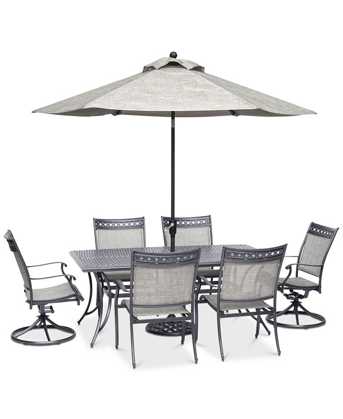 """Furniture - Vintage II Outdoor Cast Aluminum 7-Pc. Dining Set (72"""" x 38"""" Table, 4 Sling Dining Chairs & 2 Sling Swivel Chairs), Created for Macy's"""