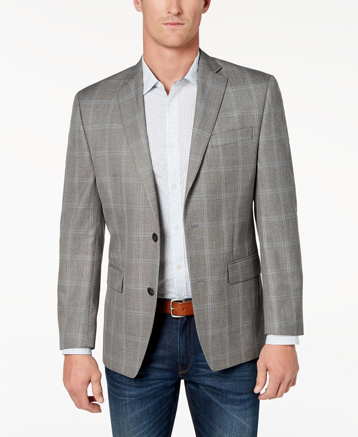 Michael Kors Mens Classic-Fit Grey Plaid Sport Coat