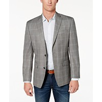 Deals on Michael Kors Mens Classic-Fit Grey Plaid Sport Coat