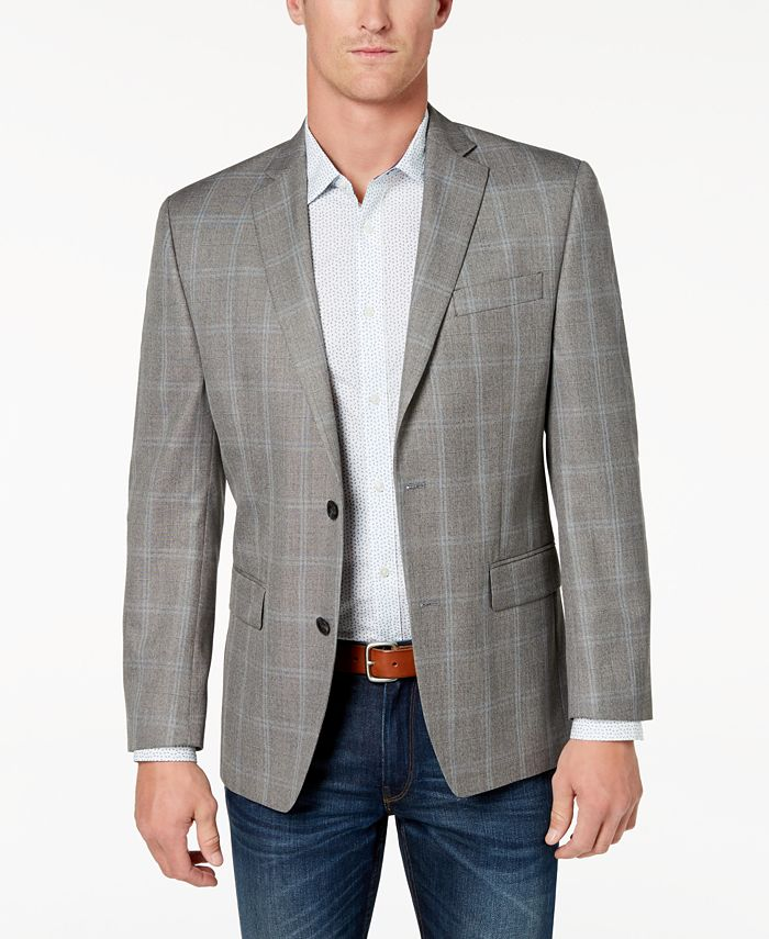 Michael Kors - Men's Classic-Fit Brown Plaid Sport Coat