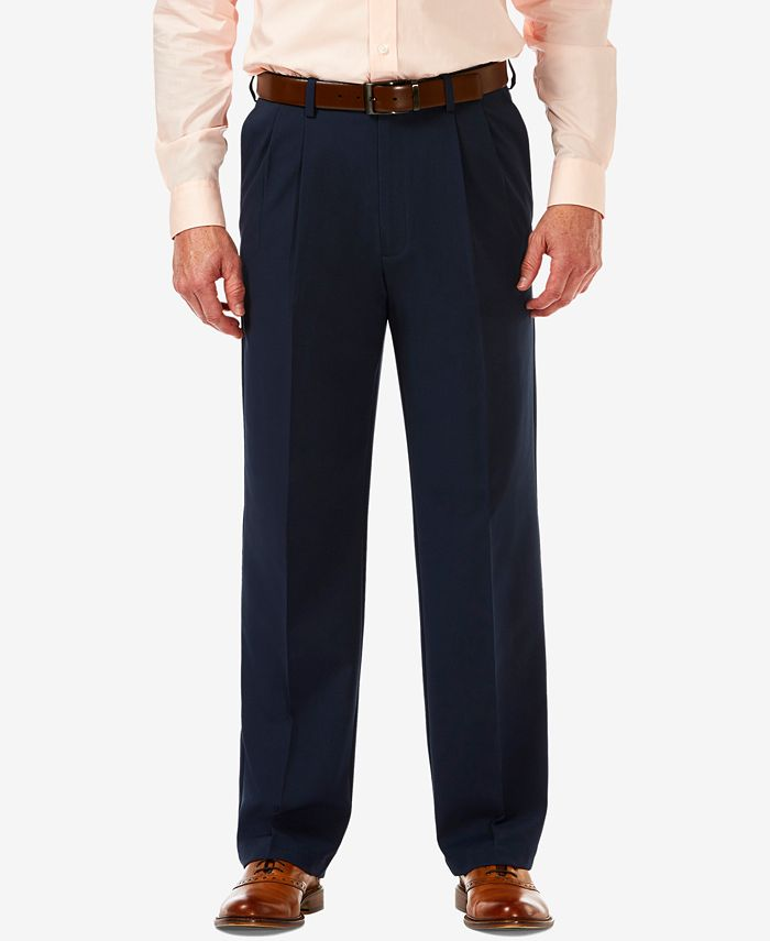 Haggar - Men's Cool 18 PRO Classic-Fit Stretch Pleated Dress Pants
