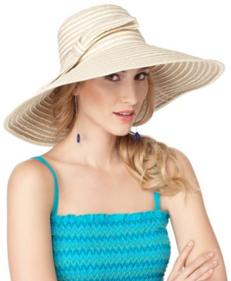 Nine West Hat, Straw Floppy with Bow