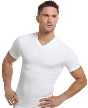 One Flat Jack Mens Body Shaper, Compression V Neck Tee