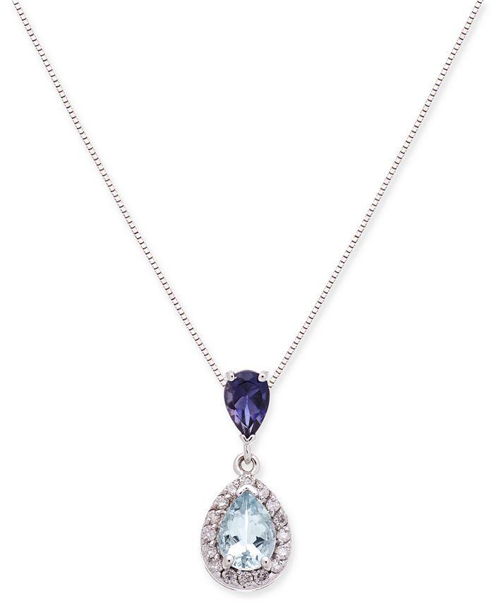 "Macy's - Aquamarine, Iolite and Diamond (1 ct. t.w.) 18"" Pendant Necklace"