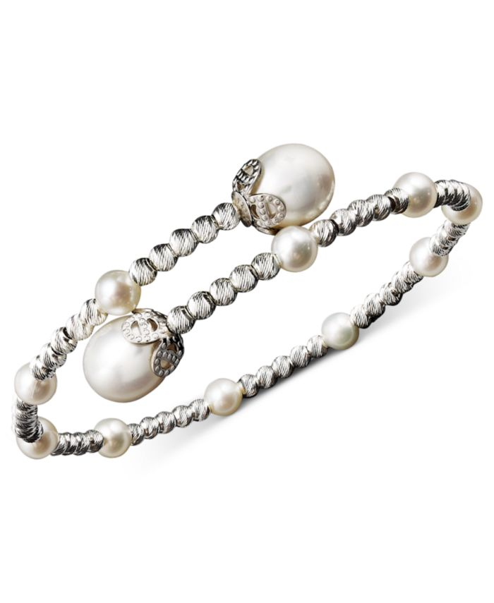 Macy's Pearl Bracelet, Sterling Silver Cultured Freshwater Pearl (4-1/2mm and 8-1/2mm) Sparkle Bead Cuff Bracelet & Reviews - Bracelets - Jewelry & Watches - Macy's