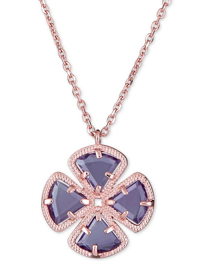 "Macy's - Green Quartz Clover Pendant Necklace (3-5/8 ct. t.w.) in 18k gold plated sterling silver, 16"" + 1"""