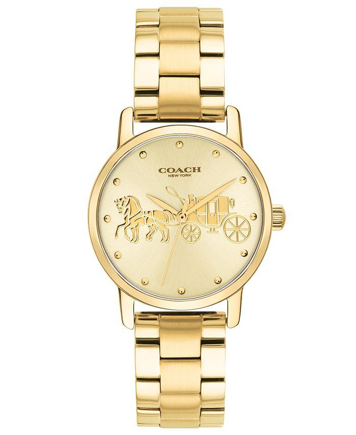 COACH - Women's Grand Gold-Tone Stainless Steel Bracelet Watch 28mm