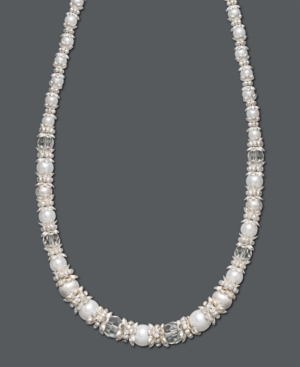 Charter Club Necklace, Silver Tone White Bead
