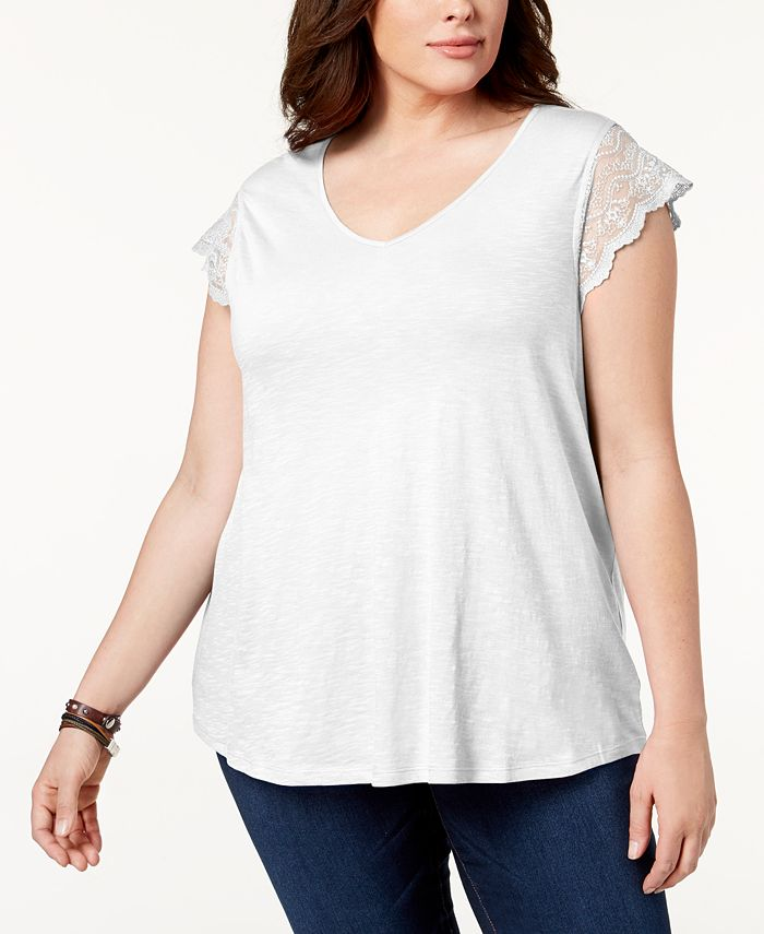 Style & Co - Plus Size Lace-Sleeve Top