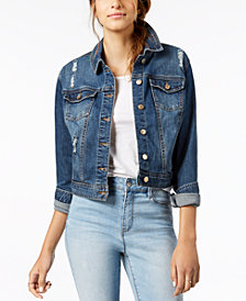 Celebrity Pink Juniors' Ripped Dark Wash Denim Jacket