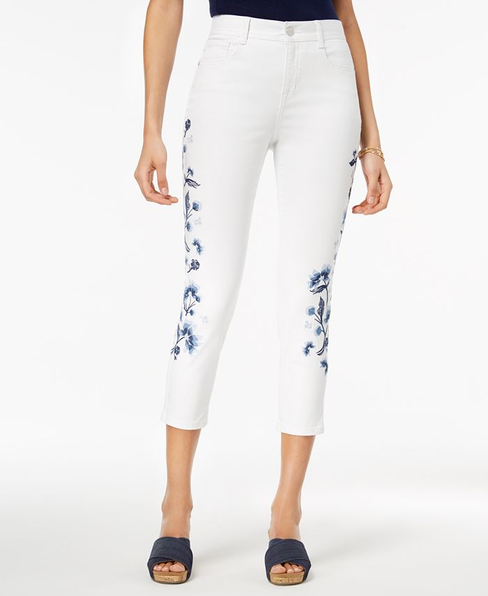 Style & Co - Petite Embroidered Slim-Leg Ankle Jeans