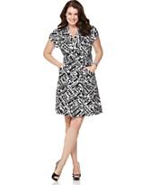 Robbie Bee Plus Size Dress, Short Sleeve Printed Wrap