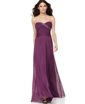 Adrianna Papell Dress, Strapless Beaded Gown