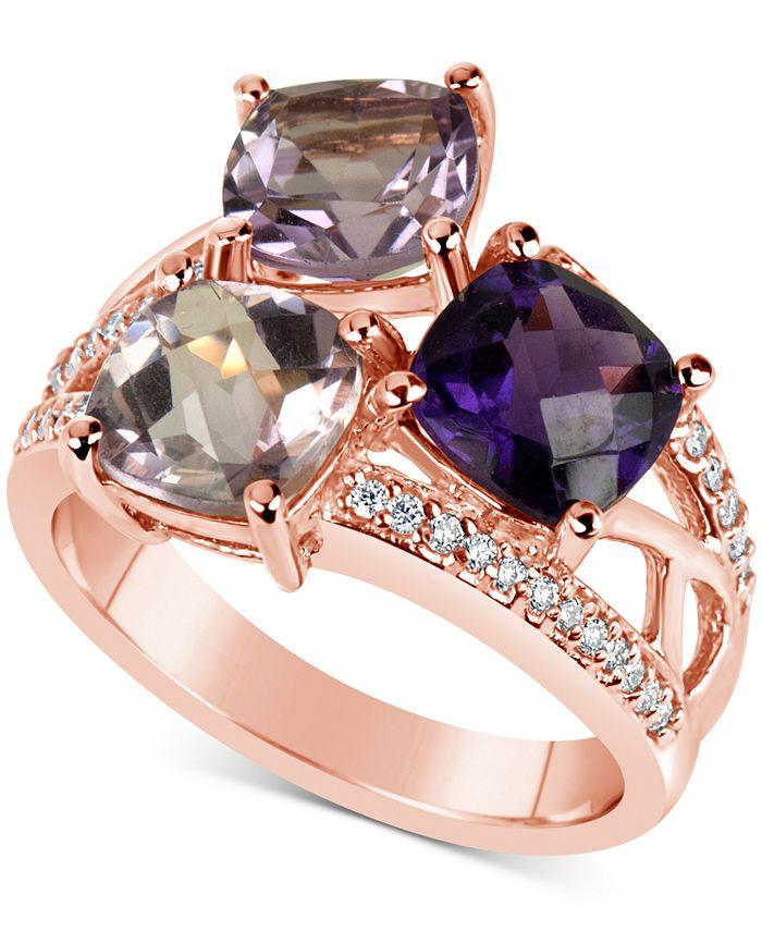 Macy's - Amethyst (4-1/2 ct. t.w.) & Diamond (1/6 ct. t.w.) Ring in 14k Rose Gold