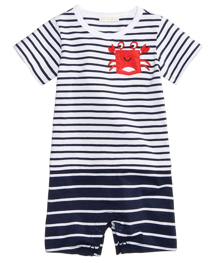 First Impressions - Striped Crab Cotton Sunsuit, Baby Boys
