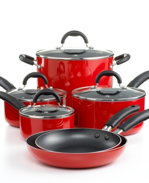 Martha Stewart Collection Cookware Set, Nonstick Porcelain Enamel 10 Piece Red