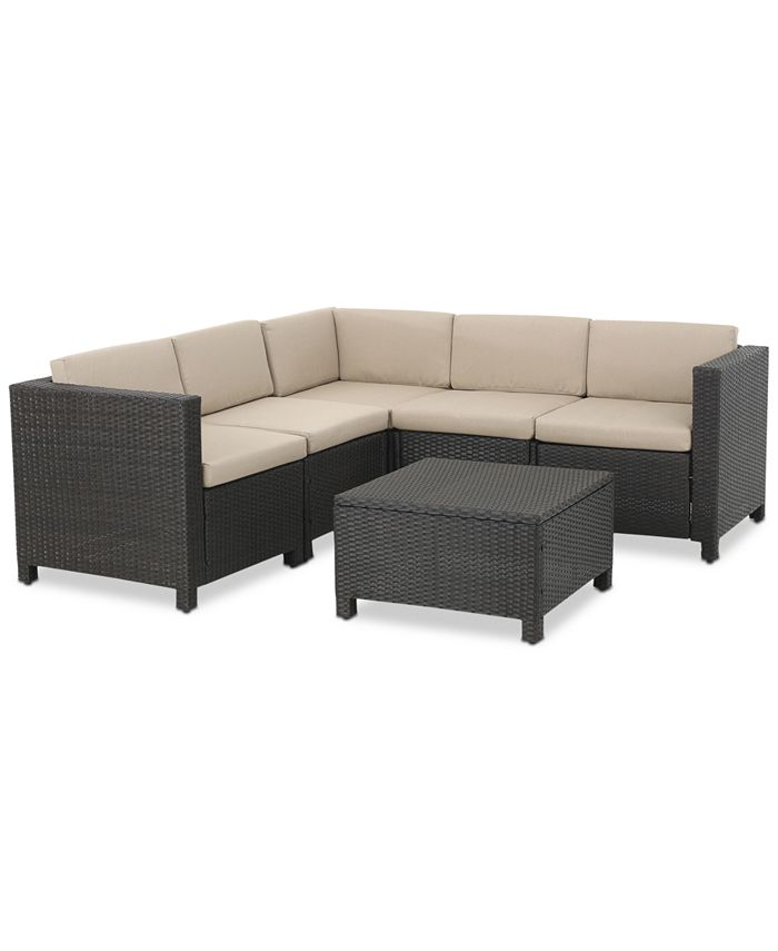Noble House - Murano Outdoor 6-Pc. Sectional Sofa Set, Quick Ship